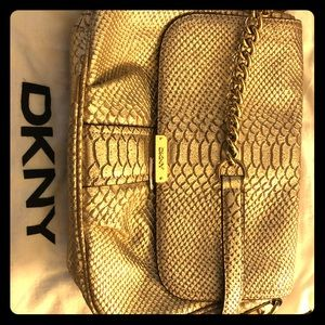 DKNY Gold Python Embossed Leather Crossbody Bag